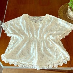 Tops - White lace wing top😇Beautiful!